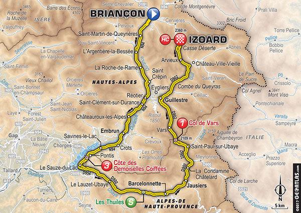 Parcours de l'étape 18 du tour de France 2017 - Briançon / Izoard