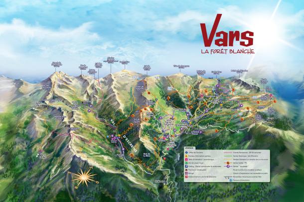 Le plan des randonnée à Vars